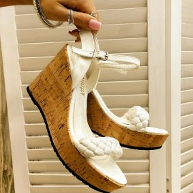 KNITTED WEDGE SANDALS - WHITE