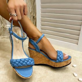 KNITTED WEDGE SANDALS - BLUE