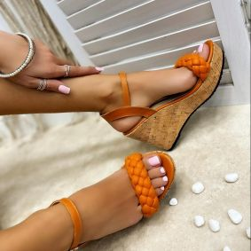 KNITTED WEDGE SANDALS - ORANGE
