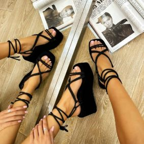 ROMAN PLATFORM SANDALS WITH LACE - BLACK
