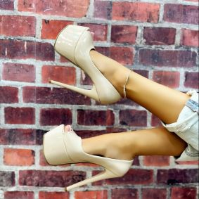 PATENT PLATFORM PEEP TOE STILLETO SHOES - BEIGE