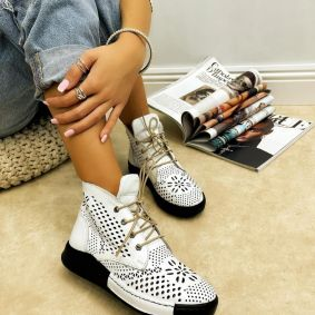 Leather sneakers GEORGIA - WHITE