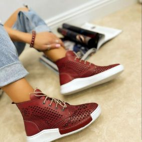 Leather sneakers GEORGIA - WINE RED