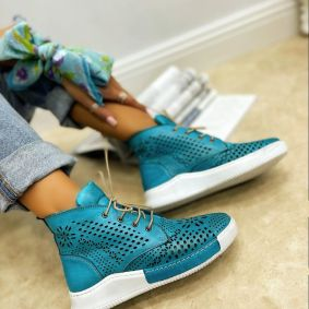 Leather sneakers GEORGIA - TURQUOISE