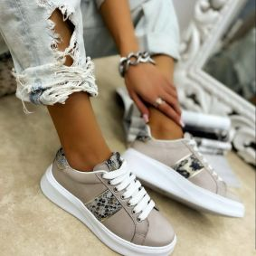 Leather sneakers EMMA - BEIGE