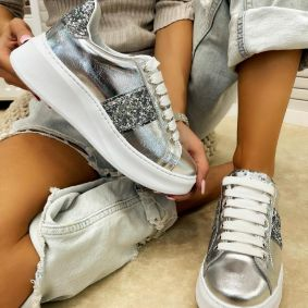Leather sneakers EMMA - SILVER
