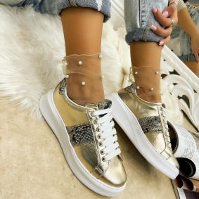 Leather sneakers EMMA - GOLD