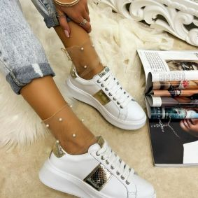 Leather sneakers EMMA - WHITE