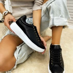 Leather sneakers BARBARA - BLACK