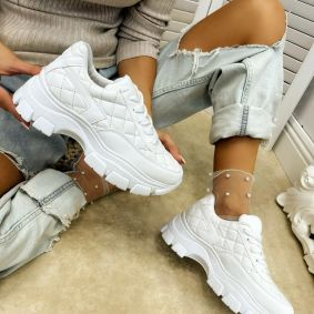 SAW LACE UP SNEAKERS - WHITE