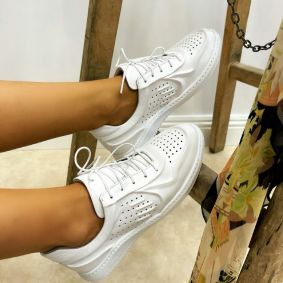 Leather sneakers MOLI - WHITE