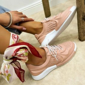 Leather sneakers INES - ROSE