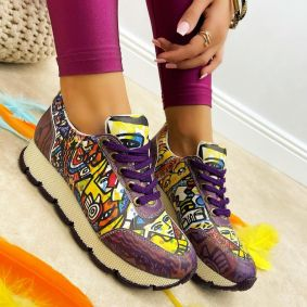 LACE UP PRINTED SNEAKERS - PURPLE