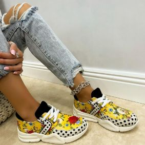 LACE UP PRINTED SNEAKERS WITH DOTS - YELLOW